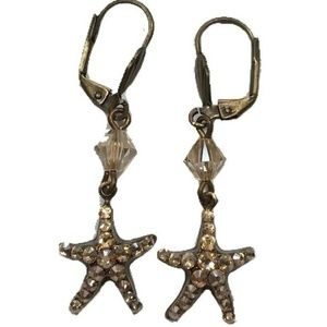 Pink Peach Rhinestone starfish dangle earrings